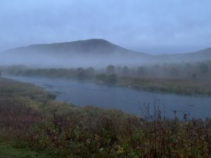 река, туман, рассвет